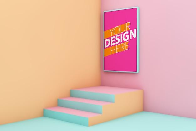 Plakatowa makieta na minimalistycznej kolorowej ścianie