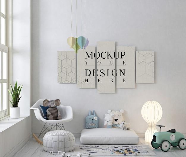 Plakatowa makieta w białym pokoju zabaw z bujanym fotelem