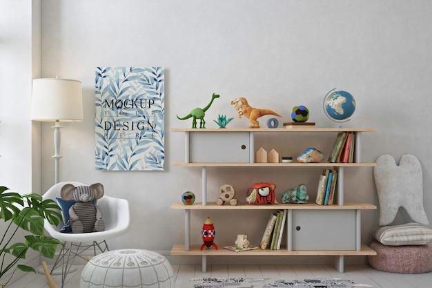 Plakatowa makieta w prostym pokoju zabaw