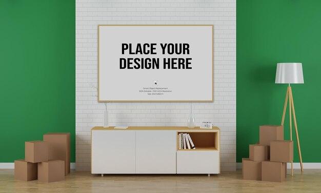 Plakatowa makieta z wystrojem wnętrza salonu