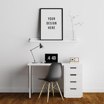Plakatowa rama makieta wnętrze przestrzeni roboczej z dekoracjami