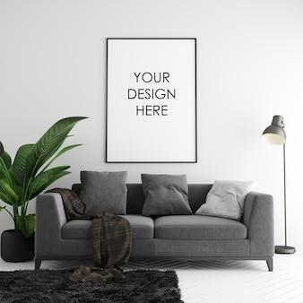 Plakatowa rama makieta z dekoracjami