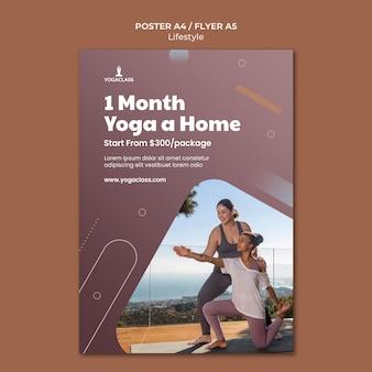 Plakatowy szablon do ćwiczeń i ćwiczeń jogi