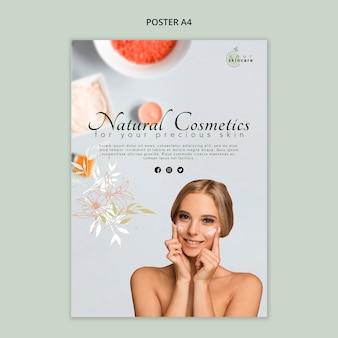 Plakatowy szablon kosmetyki naturalne