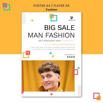 Plakatowy szablon mody z męskim modelem