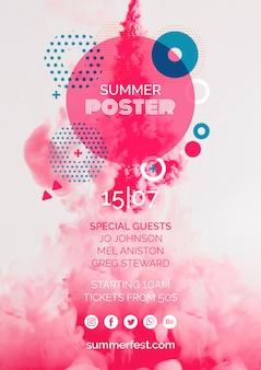 Plakatowy szablon na letni festiwal