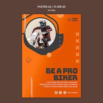 Plakatowy szablon reklamy dirt bike