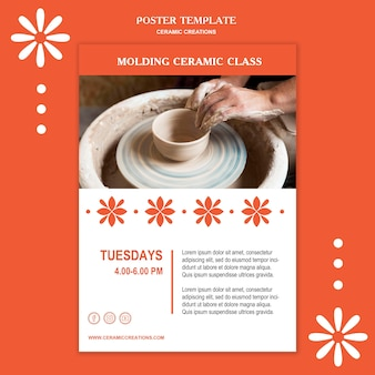 Plakatowy szablon reklamy kreacji ceramicznych