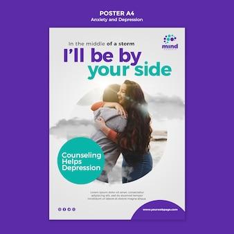 Plakatowy szablon reklamy lęku i depresji