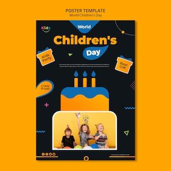 Plakatowy szablon reklamy na dzień dziecka