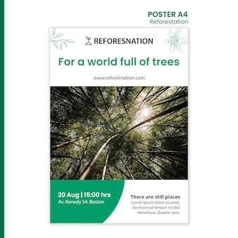 Plakatowy szablon reklamy ponownego zalesiania