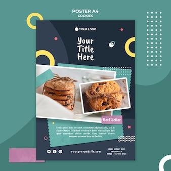 Plakatowy szablon reklamy sklepu z ciasteczkami