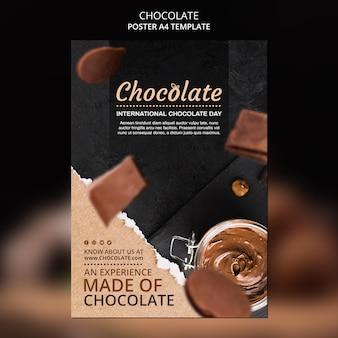 Plakatowy szablon reklamy sklepu z czekoladą