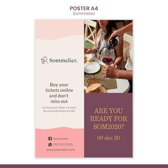 Plakatowy szablon reklamy sommeliera