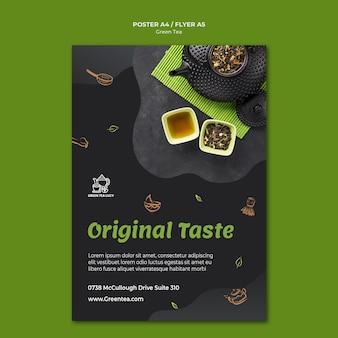Plakatowy szablon reklamy zielonej herbaty