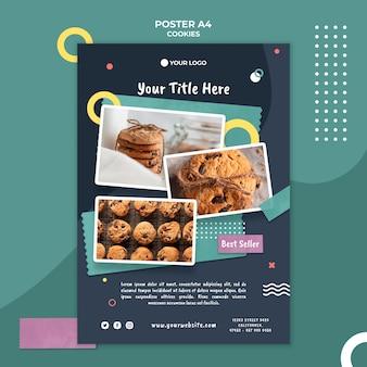 Plakatowy szablon sklepu z ciasteczkami