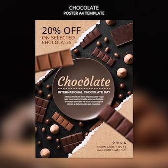 Plakatowy szablon sklepu z czekoladą