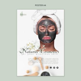 Plakatowy szablon sklepu z kosmetykami naturalnymi