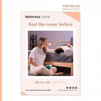 Plakatowy szablon sklepu z materacami
