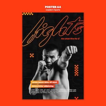 Plakatowy szablon sportów walki