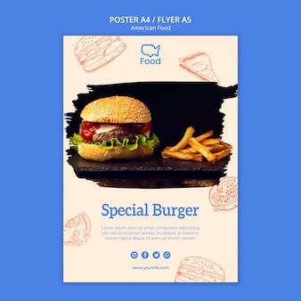 Plakatowy szablon z amerykańskim jedzeniem pojęciem