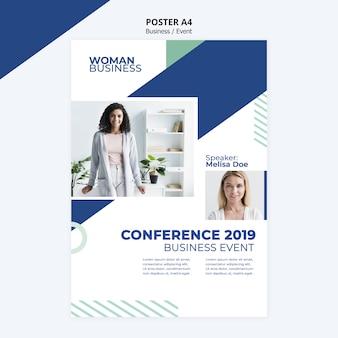 Plakatowy szablon z biznesowej kobiety pojęciem