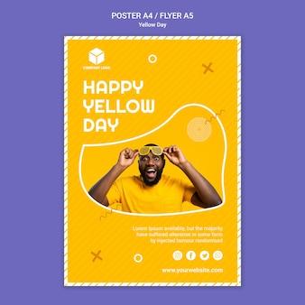 Plakatowy szablon z żółtym dniem