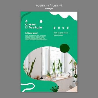 Plakatowy szablon zielonego stylu życia z rośliną