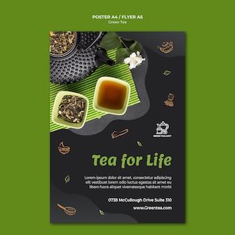 Plakatowy szablon zielonej herbaty