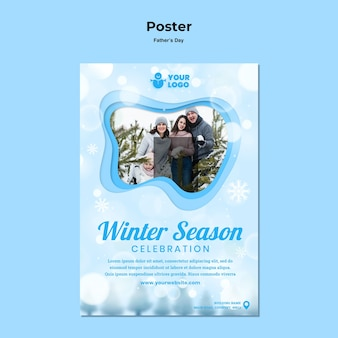 Plakatowy zimowy czas rodzinny szablon