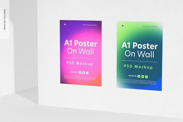 Plakaty a1 na makiecie ściennej, prawy widok