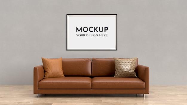 Plakaty, makieta ramki we wnętrzu z sofą. szablon makiety ramki do zdjęć