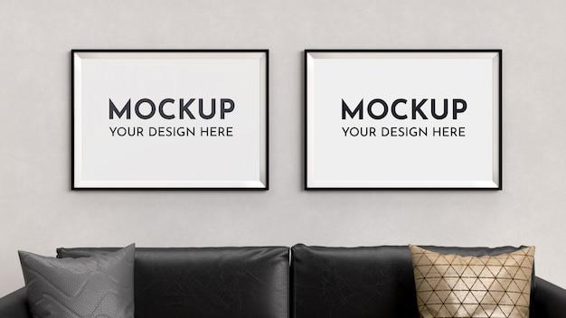 Plakaty, makieta ramki we wnętrzu z sofą.