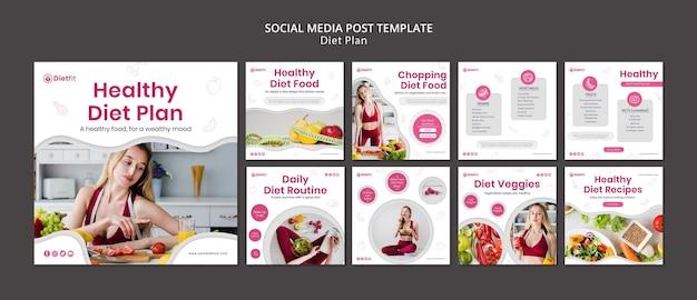Plan diety szablon postu w mediach społecznościowych