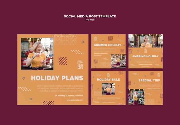 Plany wakacyjne szablon postu w mediach społecznościowych