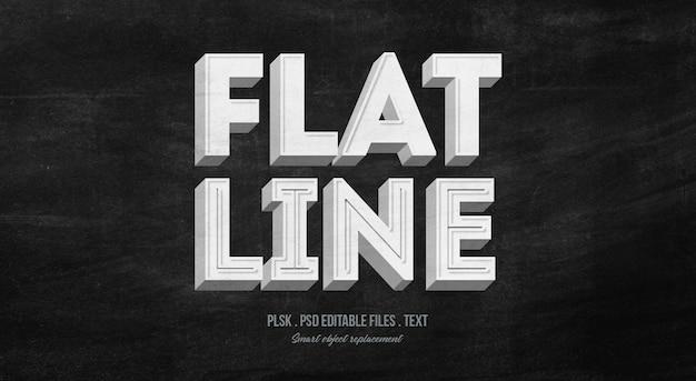 Płaska linia 3d makieta styl tekstu efekt