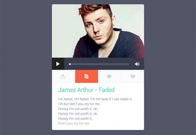 Płaski odtwarzacz muzyczny widget z tekstami