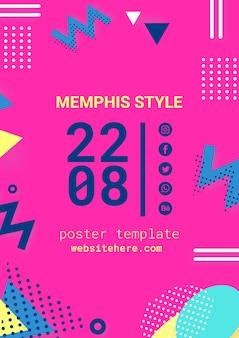 Płaski różowy plakat w stylu memphis