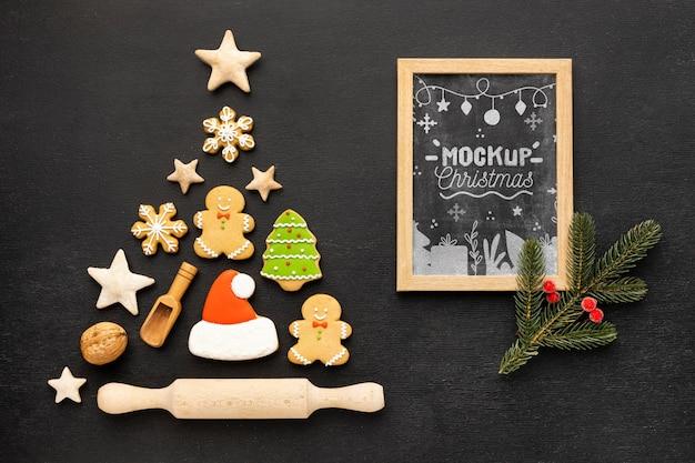 Płaski układ makiety pysznych świątecznych potraw