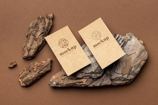 Płaski układ papeterii z drewnem