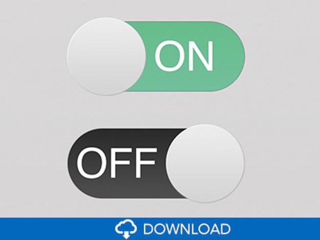 Płaskie przyciski ui psd switchs