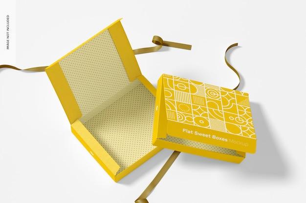 Płaskie słodkie pudełka z makietą wstążki, otwarte i zamknięte