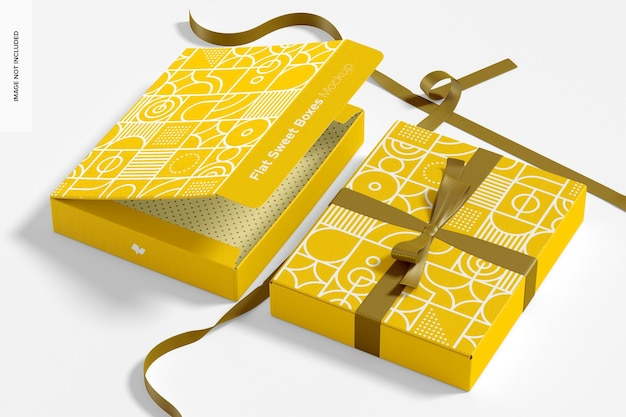 Płaskie słodkie pudełka z makietą wstążki, perspektywa