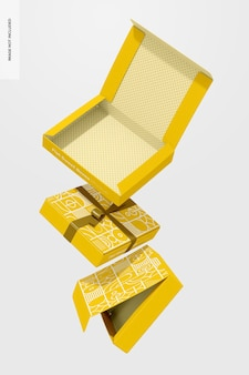 Płaskie słodkie pudełka z makietą wstążki, spadające