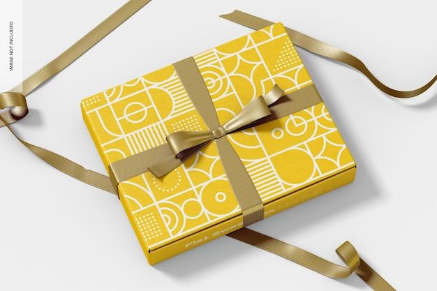 Płaskie słodkie pudełko z makietą wstążki