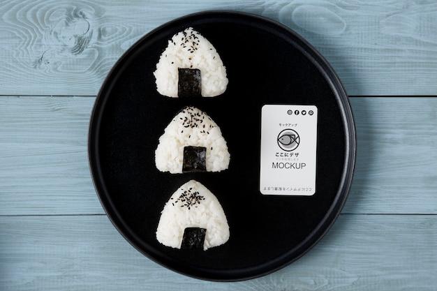 Płaskie ukształtowanie makiety koncepcji azjatyckiego jedzenia