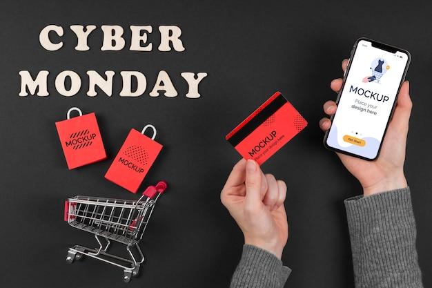 Płaskie ukształtowanie makiety koncepcji cyber poniedziałek