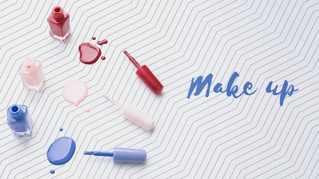 Płaskie ukształtowanie makiety lakieru do paznokci