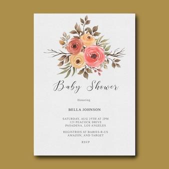 Płaskie ukształtowanie szablonu zaproszenia baby shower