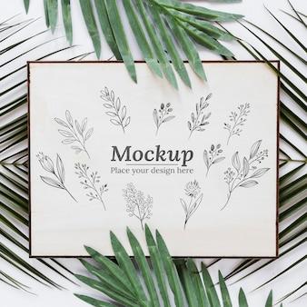 Płasko ułożone rośliny i makieta karty